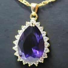 6 Ct Pear Purple Amethyst Necklace Women Jewelry Gift 14K Yellow Gold Plated