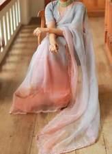 Elegant Grey Organza Silk Designer Embroidered Sari Saree Lehenga Choli Dress
