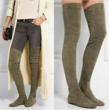 New Women Stretchy Flat Heel Overknee High Thigh Suede Leather Boots Comfy Euro