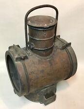 Antique large Train locomotive copper oil front lamp lantern headlight 19th cent
