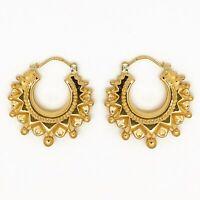 Genuine Hallmarked 9 Carat Gold Medium Size Spiked Victorian Creole Hoop Earring