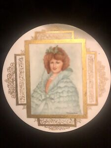 Victorian Porcelain Plaque Lady In Blue Redhead Woman Handpainted Artist Signed