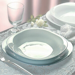 Bormioli Parma 18pc Square Dinner Service Set Opal Glass Dinnerware Dining Plate