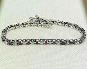 "Estate 14K White Gold Box Chain Tennis Bracelet Diamonds & Red Topaz 7"" 3mm"