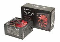 Fuente de alimentación PC ATX 700W negra Ventilador 140mm rojo