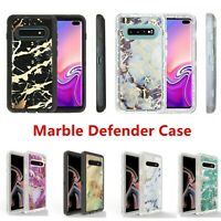 For Samsung Galaxy S10 Marble Defender Case Work with Otterbox Belt Holster Clip
