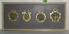 Four Mounted Horse Brass on 18 1/2 x 8 1/4 Frame