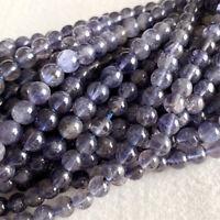 Natural Genuine Purple Blue Iolite Round Stone Jewelry Necklace Bracelet Beads