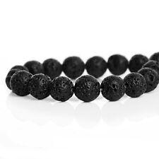 60+ Perles pierres de lave Boules 6mm cirées, trou 1mm, couleur Noir