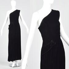 S 1940s Asymmetric Black Silk Velvet Dress Long Formal Evening Gown 40s VTG