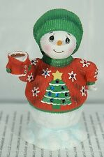 SNOWMAN IN UGLY SWEATER PRECIOUS MOMENTS LED MUSICAL IN BOX~FREE SHIPPING IN US~