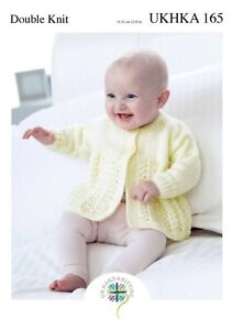 """UKHKA 165 Cardigans and Matinee Coats Knitting Pattern In DK 31-51cm (12-20"""")"""