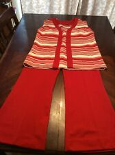 New listing Vintage Red And White Striped Pants And Vest Set 1960s Size 14 Bell Bottoms