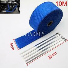 """Blue Exhaust Heat Wrap High Temp Manifold Front Pipe Exhaust Shields 2"""" x 10M"""