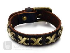 Men's Unisex Roman Design Light Weight Leather Bangle Wristband - USA Seller