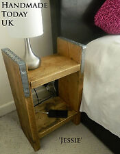 Handmade Rustic Industrial Bedside Cabinet made from Reclaimed Scaffold Boards