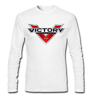 Men's Victory Motorcycle Logo 100% Cotton Long Sleeve T-shirts