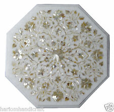 "18"" White Marble Coffee Table Top Mother of Pearl Inlay Marquetry Decor H1271"
