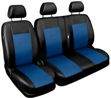 Seat covers fit Ford Transit Custom 2015 2016 2017 2018 leatherette black - blue