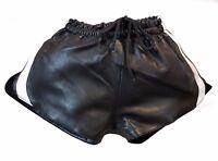 Lamb Nappa Men Black Leather shorts with elastic band Waist 32-34-36-38-40-42-44