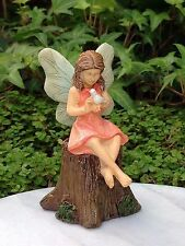 Miniature Dollhouse FAIRY GARDEN ~ Sharing Secrets ~ Girl on Tree Stump w Bird
