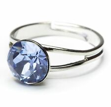 Neu RING 8mm SWAROVSKI STEIN in light sapphire/blau GRÖßENVERSTELLBAR DAMENRING