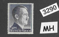#3290   Adolph Hitler stamp / MH 1940s / 5RM Third Reich / WWII Germany Sc527