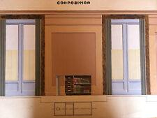 Tres Beau Grand Dessin Original Art Deco Architecture Gouache Sur Papier Crayon