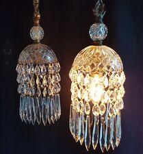 BEAUTIFUL ANTIQUE PAIR PENDANT CEILING LIGHTS CUT CRYSTAL GLASS & GILT BRONZE