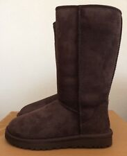 UGG Womens Classic Tall Boots Chocolate Brown Size 11 Twinface Sheepskin 5815