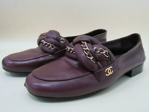 Chanel Women's Bordeaux Lambskin CC Braided Chain Loafers Moccasins Size 35.5