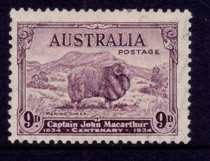 1934 Centenary Macarthur Merino Ram 9d Violet MUH SG 152