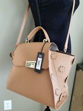 NWT ZAC POSEN Eartha Iconic Top Handle Satchel Floral Stud Ginger Leather Bag
