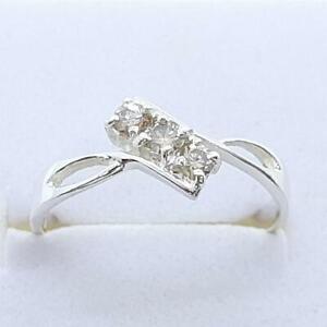 Past, Present, Future 14K White gold plate/925 .16ctw Diamond Engagement Ring