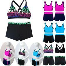 Girls Tankini Swimwear Swimsuit Kids Bikini Tops + Shorts Set Swimming Costume