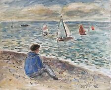 JEAN-JACQUES RENE (b.1943) SIGNED FRENCH OIL - SEASCAPE WITH SAILING DINGHIES