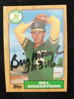 BILL MOONEYHAM 1987 TOPPS AUTOGRAPHED SIGNED AUTO BASEBALL CARD 548 A'S