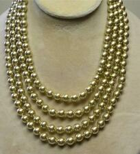 """JOAN RIVERS GOLD PLATED HAND KNOTTED 8mm gold CZECH GLASS PEARL 75"""" NECKLACE NOS"""
