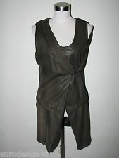NWT SEXY 100% GENUINE LEATHER MASNADA BROWN JACKET/VEST sz 42/8 made in Italy