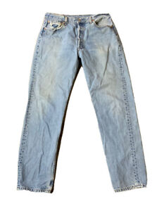 VTG Levis 501 Button Fly Distressed Jeans Size 34 x 33 Made USA
