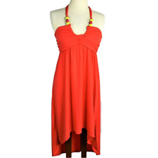 NEW Made For Me To Look Amazing Women 4 Halter Dress Relaxed Knit Beads Hi Lo