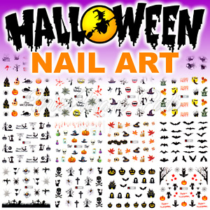 Halloween Nails Water Decals Nail Stickers Pumpkins Bats Haunted Cats Spiders