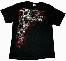 TATTOO ART HELL SKULLS ADULT GRAPHIC T-SHIRT [LARGE]
