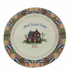 """Collectible """"Home Sweet Home"""" Patchwork 10 3/4"""" Decorative Ceramic Plate"""