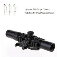 1.5-4X30 Tactical Rifle Scope Tri-Illuminated Chevron Reticle w/Cantilever Mount