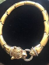D'orlan Gold Tone Necklace With Cat Clasp W/ Stones