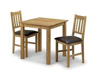 Julian Bowen Coxmoor Solid Wood American White Oiled Oak Square Table 2 chairs