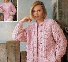 Ladies Knitting Pattern Cardigan SWEATER Aran Design (copy)