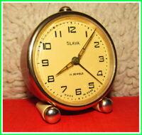4Vintage Mechanical Alarm Clock Slava 11 Jewels Russian USSR Soviet 1980 #24225