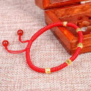 "Pure 24K Yellow Gold Bracelet Women 5pcs Faced Bead Red Cord Bracelet 0.2g 6.3""L"